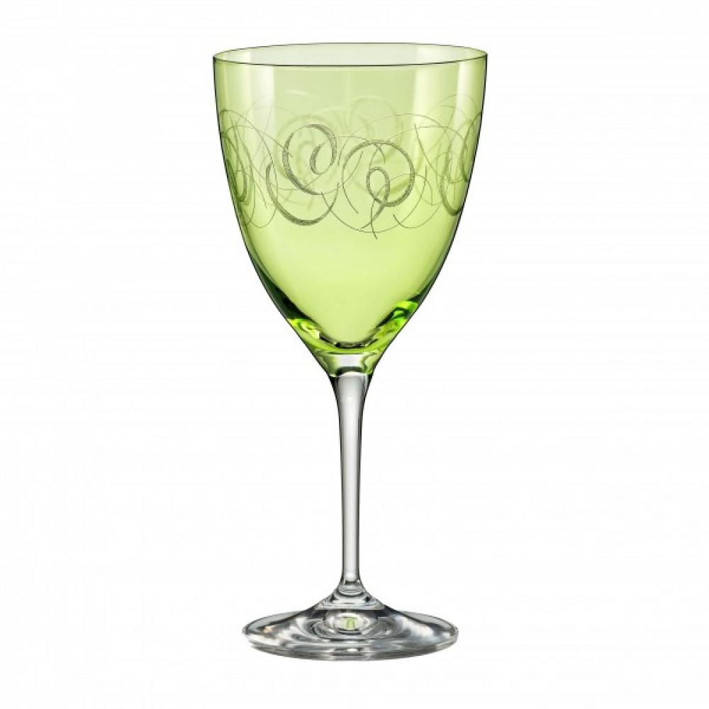 Kate vīna glāzes 250ml zaļas, 6gab, kristalīna