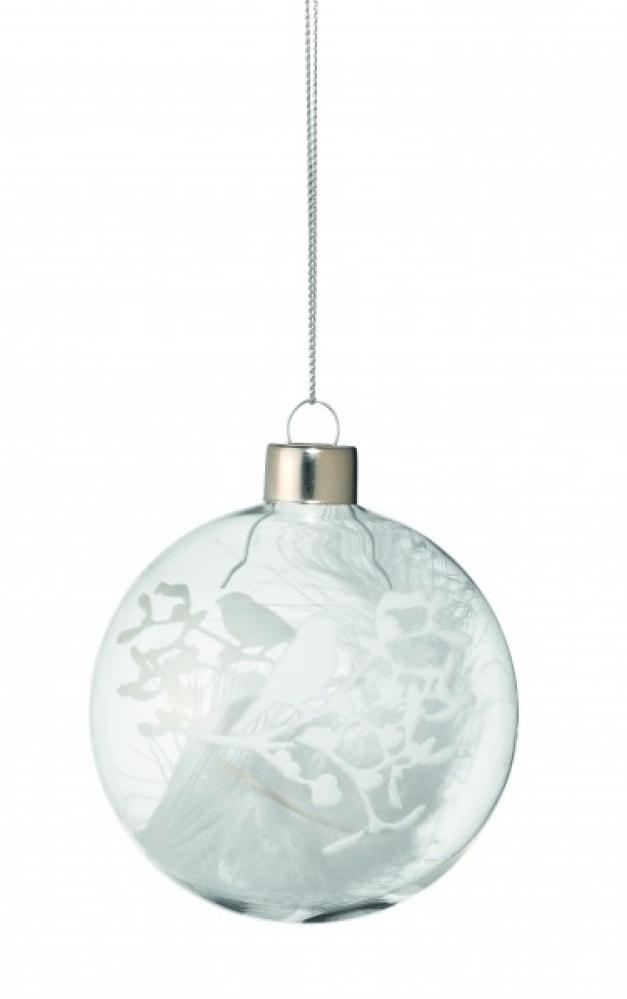 Winter magic stikla bumba ar putnu dekoru 7.5cm pildīta ar spalvām