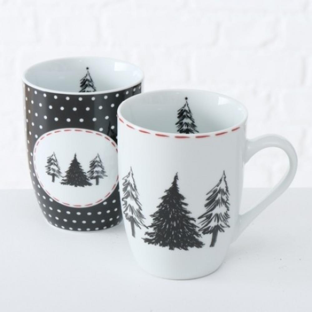 TIDUS Krūze 330ml, melnbaltu apdruku, porcelāns, Boltze